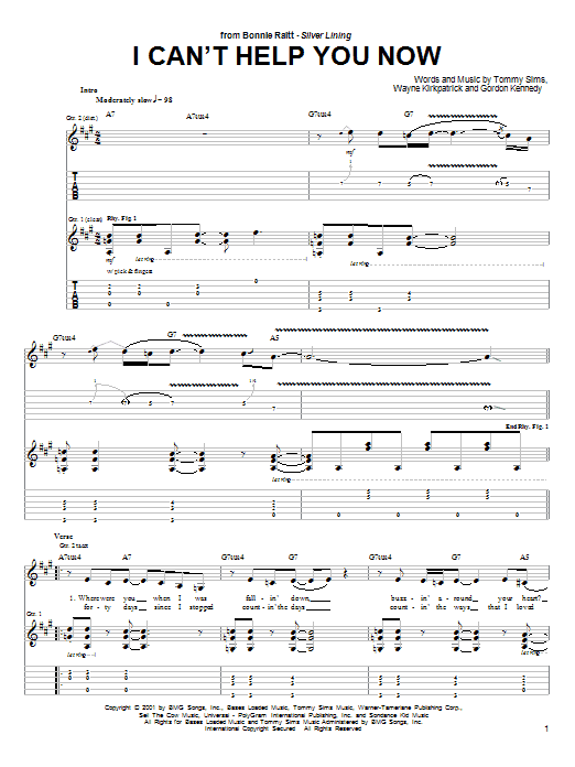 I Can't Help You Now (Guitar Tab)