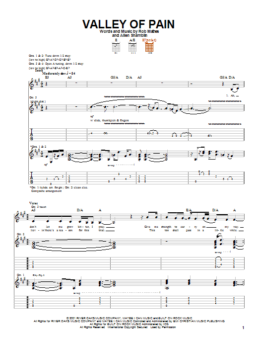 Valley Of Pain (Guitar Tab)