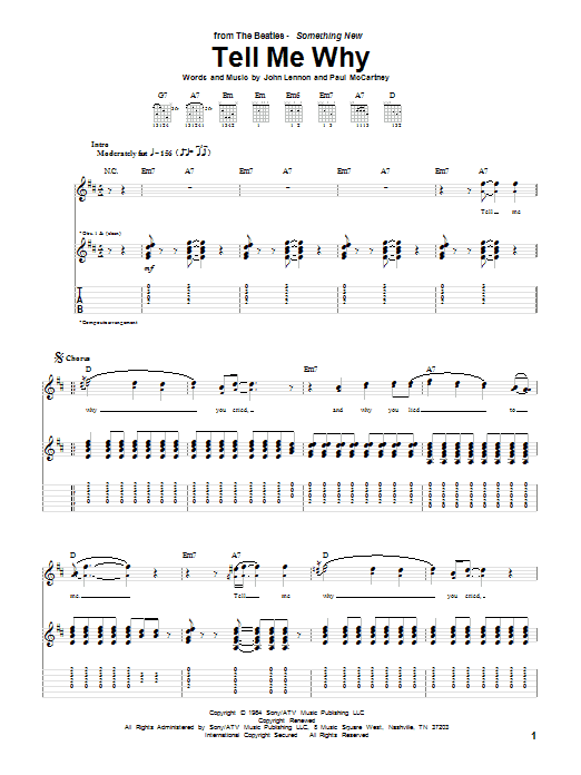 Tablature guitare Tell Me Why de The Beatles - Tablature Guitare