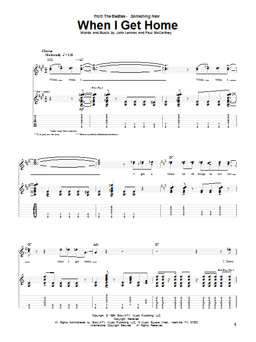 Tablature guitare When I Get Home de The Beatles - Tablature Guitare