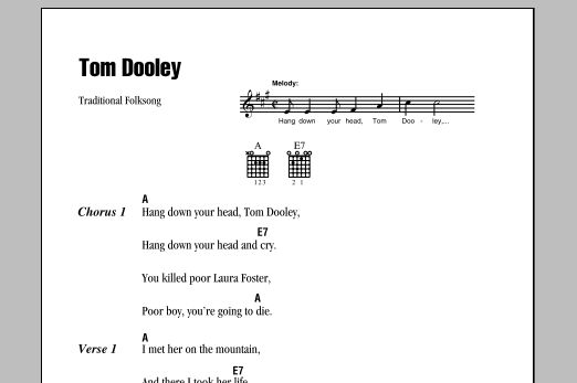 Tom Dooley (Guitar Chords/Lyrics)