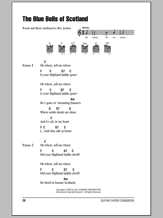 The Bluebells Of Scotland Sheet Music