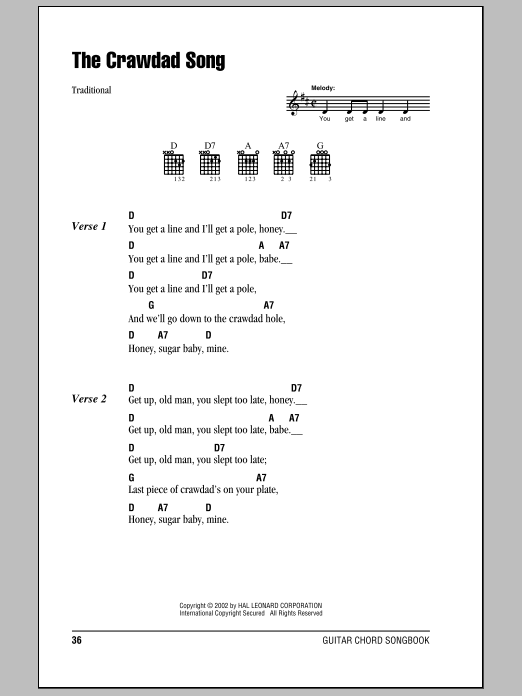 The Crawdad Song (Guitar Chords/Lyrics)