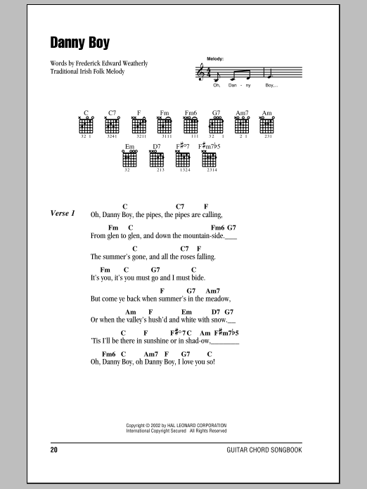Danny Boy by Frederick Edward Weatherly - Guitar Chords/Lyrics ...