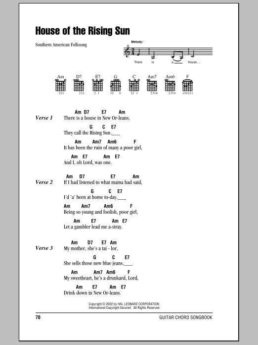 House Of The Rising Sun : Sheet Music Direct