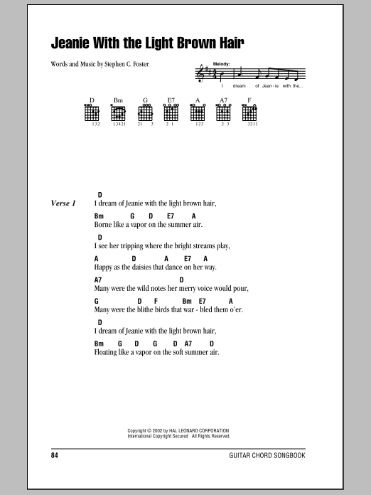 Jeanie With The Light Brown Hair | Sheet Music Direct