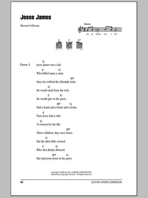 Jesse James Sheet Music