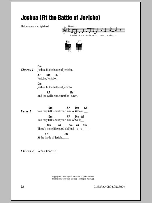 Joshua (Fit The Battle Of Jericho) Sheet Music