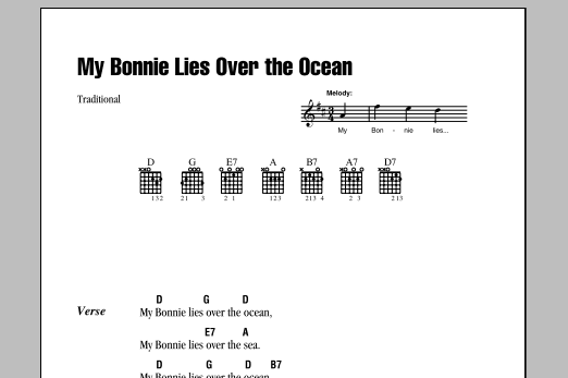 My Bonnie Lies Over The Ocean Sheet Music