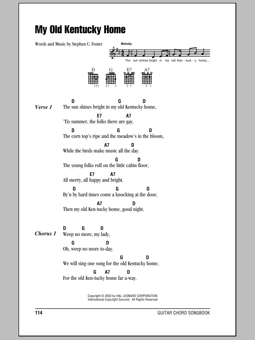 My Old Kentucky Home | Sheet Music Direct