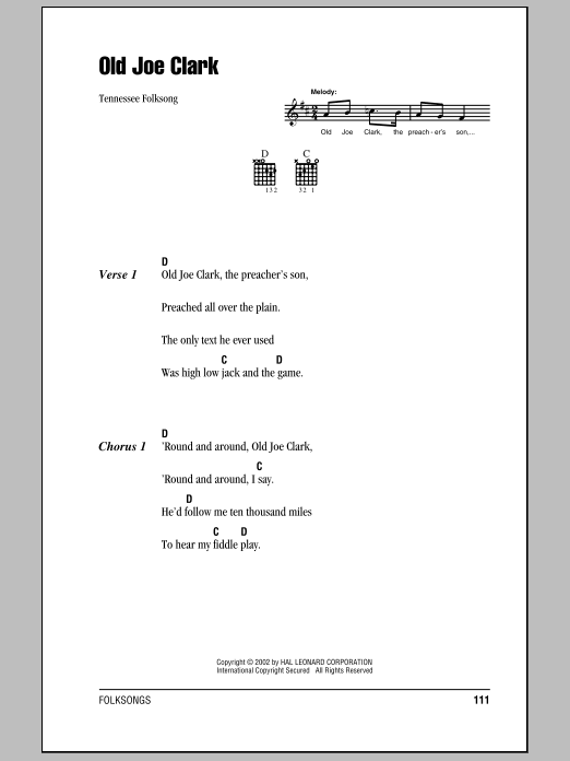 Old Joe Clark by Tennessee Folksong - Guitar Chords/Lyrics - Guitar ...