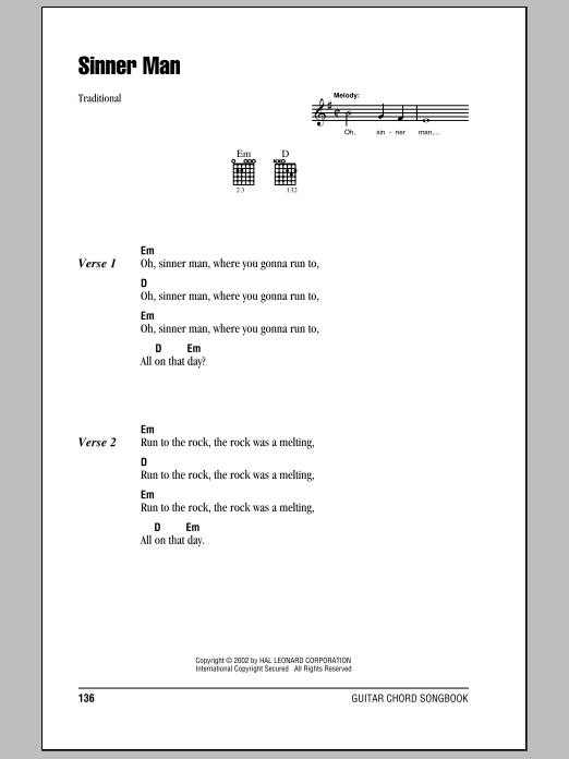Sinner Man Sheet Music