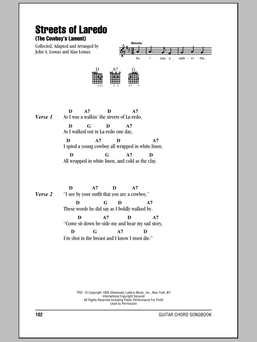 The Streets Of Laredo Sheet Music