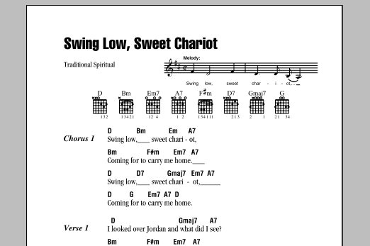 Swing Low, Sweet Chariot (Guitar Chords/Lyrics)