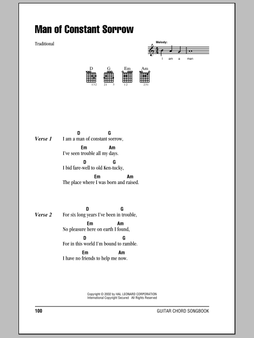 Man Of Constant Sorrow by The Soggy Bottom Boys - Guitar Chords ...