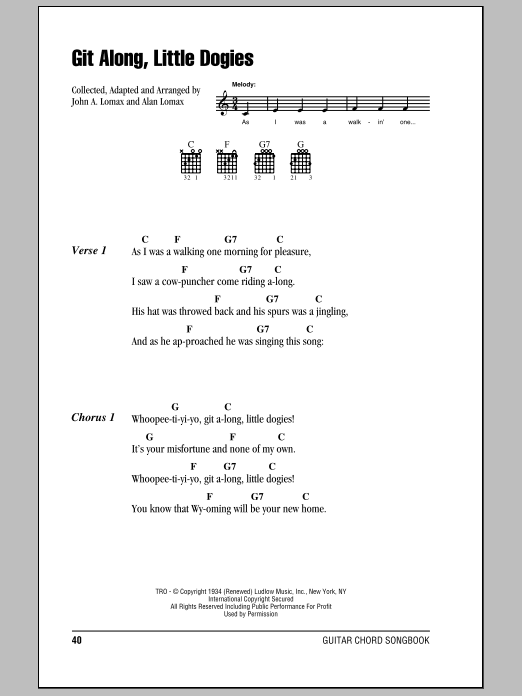 Git Along, Little Dogies Sheet Music