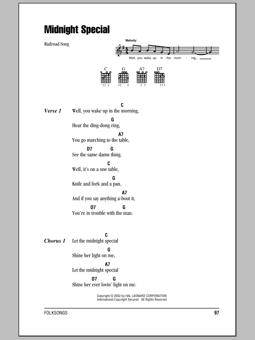 Midnight Special Sheet Music