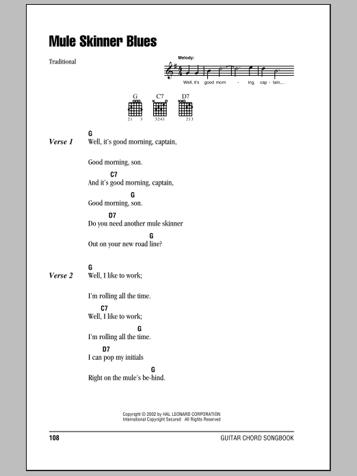 Mule Skinner Blues Sheet Music