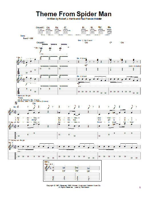 Theme From Spider-Man Sheet Music