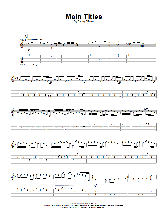 Tablature guitare Main Titles (from Spiderman) de Danny Elfman - Tablature Guitare
