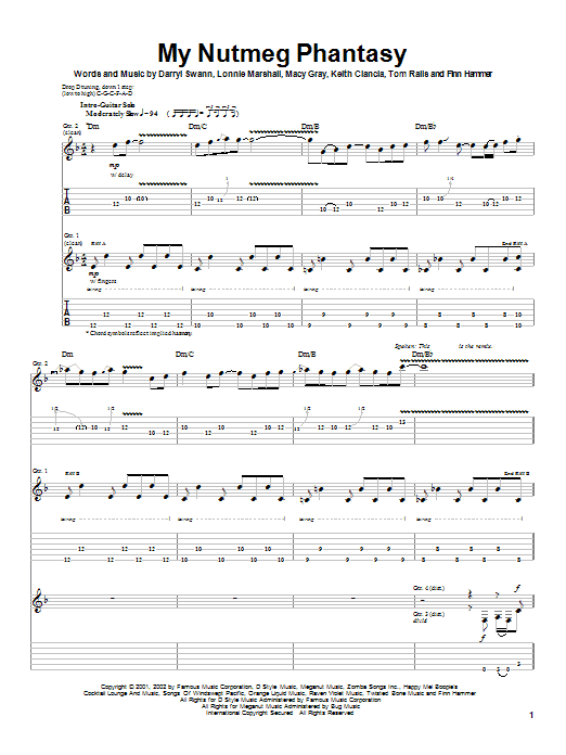 Tablature guitare My Nutmeg Phantasy de Macy Gray - Tablature Guitare