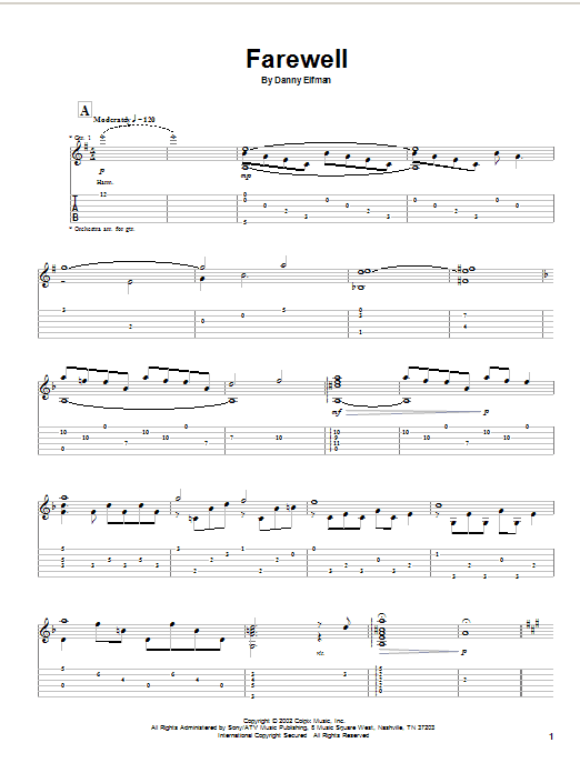 Tablature guitare Farewell (from Spiderman) de Danny Elfman - Tablature Guitare