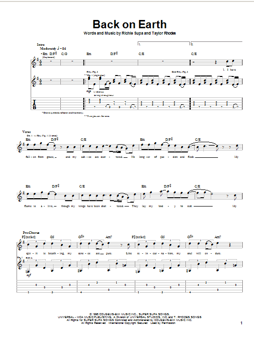Tablature guitare Back On Earth de Ozzy Osbourne - Tablature Guitare