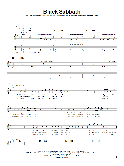 Black Sabbath Sheet Music