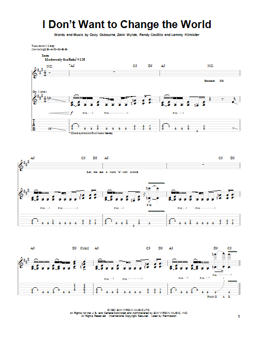 I Don't Want To Change The World (Guitar Tab)