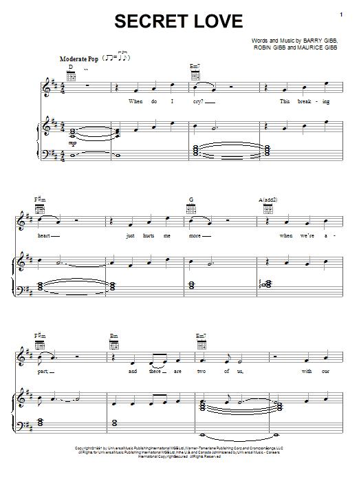 Partition piano Secret Love de Bee Gees - Piano Voix Guitare (Mélodie Main Droite)
