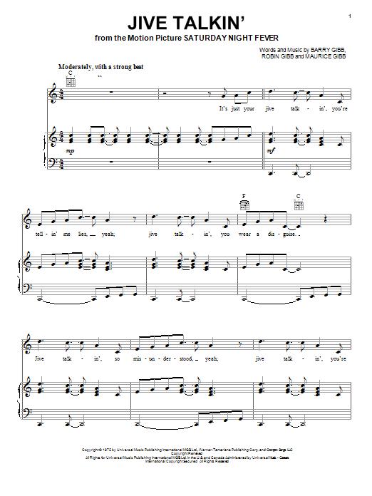 Partition piano Jive Talkin' de Bee Gees - Piano Voix Guitare (Mélodie Main Droite)