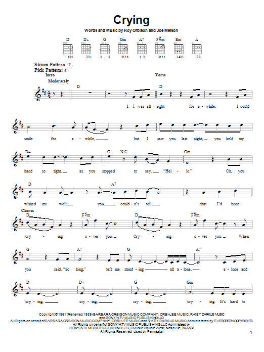 Tablature guitare Crying de Roy Orbison - Tablature guitare facile