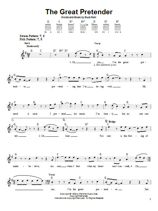 Tablature guitare The Great Pretender de The Platters - Tablature guitare facile