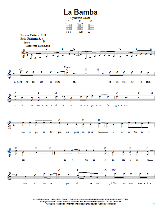 Tablature guitare La Bamba de Los Lobos - Tablature guitare facile