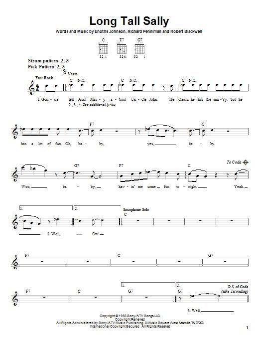 Tablature guitare Long Tall Sally de Little Richard - Tablature guitare facile