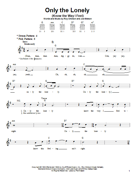 Tablature guitare Only The Lonely (Know The Way I Feel) de Roy Orbison - Tablature guitare facile