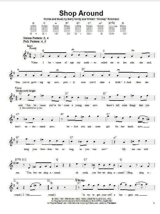 Tablature guitare Shop Around de The Captain and Tennille - Tablature guitare facile
