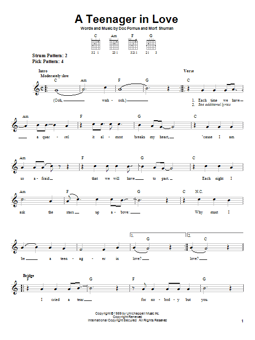 A Teenager In Love Sheet Music