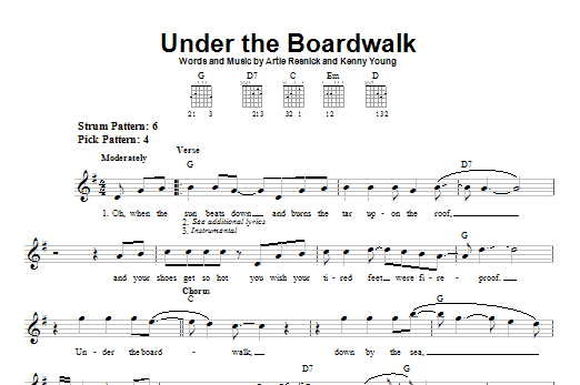 Tablature guitare Under The Boardwalk de Bette Midler - Tablature guitare facile