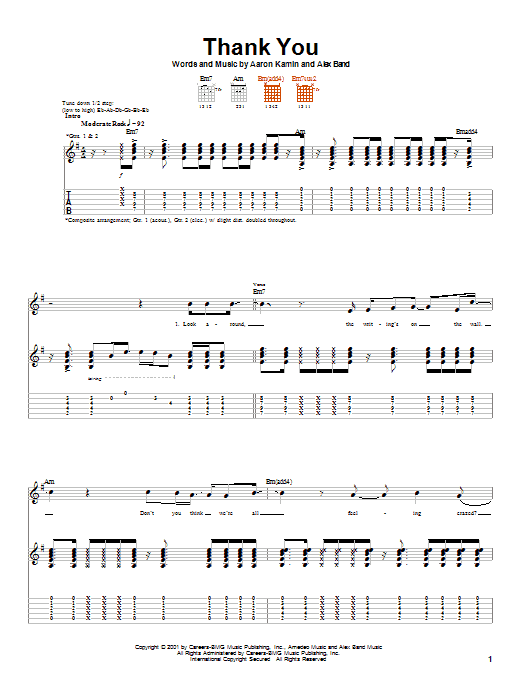 Tablature guitare Thank You de The Calling - Tablature Guitare