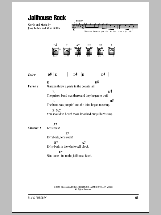 Jailhouse Rock Elvis Presley Lyrics Chords