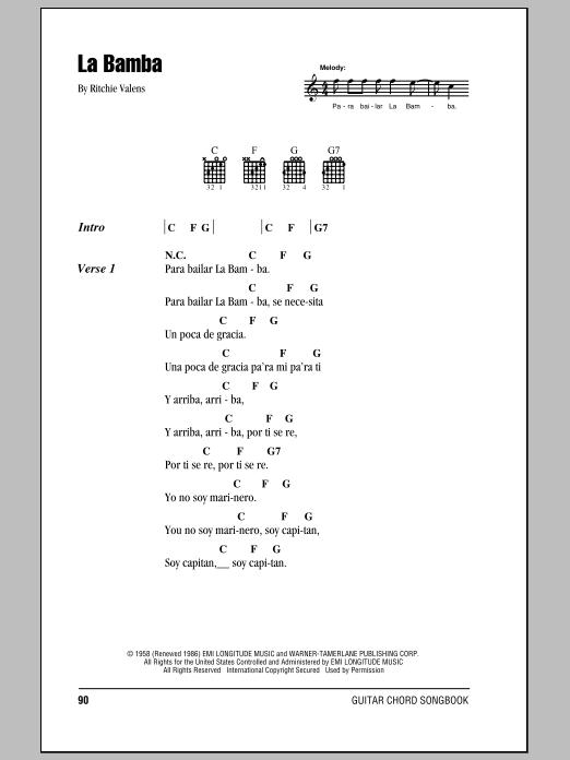 La Bamba (Guitar Chords/Lyrics)