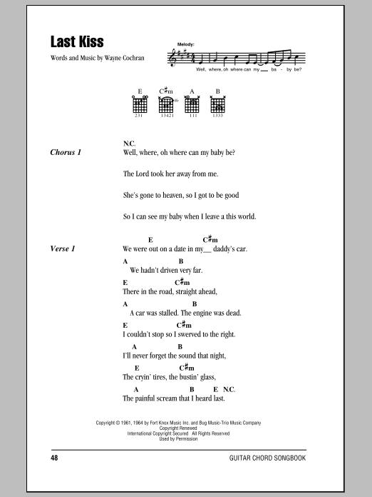 Last Kiss by J. Frank Wilson - Guitar Chords/Lyrics - Guitar Instructor