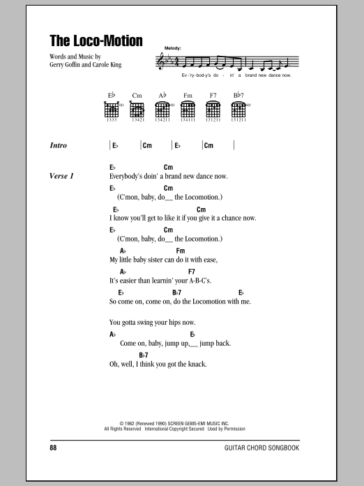 The Loco Motion Sheet Music Kylie Minogue Lyrics Chords