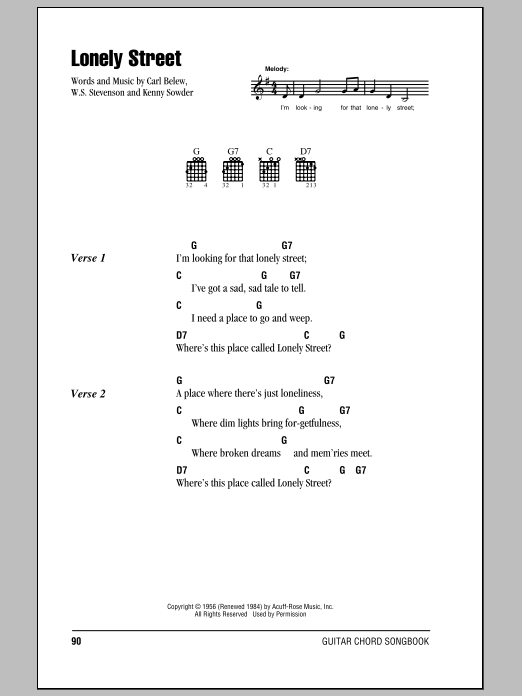 Lonely Street Sheet Music