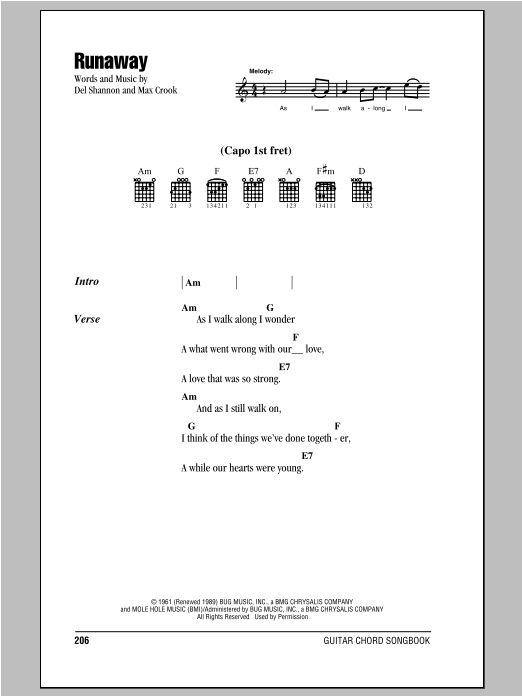 Runaway by Del Shannon - Guitar Chords/Lyrics - Guitar Instructor