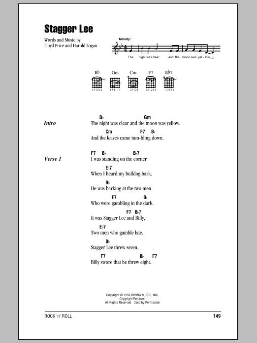 Stagger Lee (Guitar Chords/Lyrics)