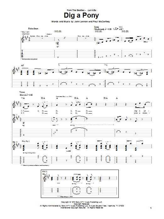 Tablature guitare Dig A Pony de The Beatles - Tablature Guitare