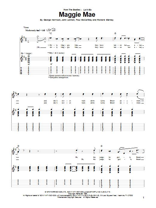 Tablature guitare Maggie Mae de George Harrison - Tablature Guitare