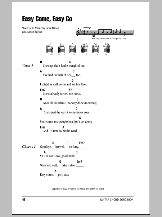 Easy Come, Easy Go Sheet Music